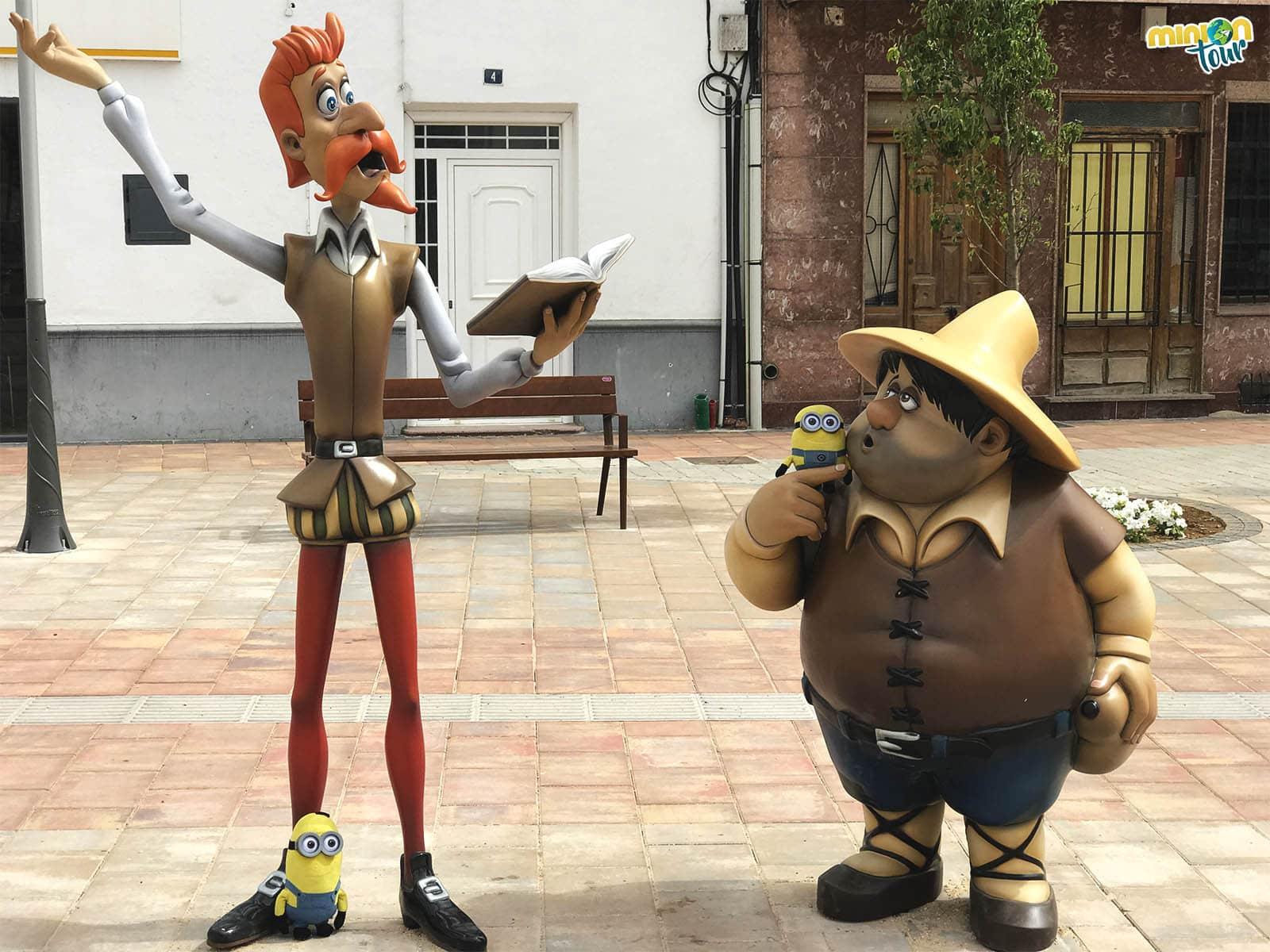 Con nuestros nuevos amigos, don Quijote y Sancho Panza