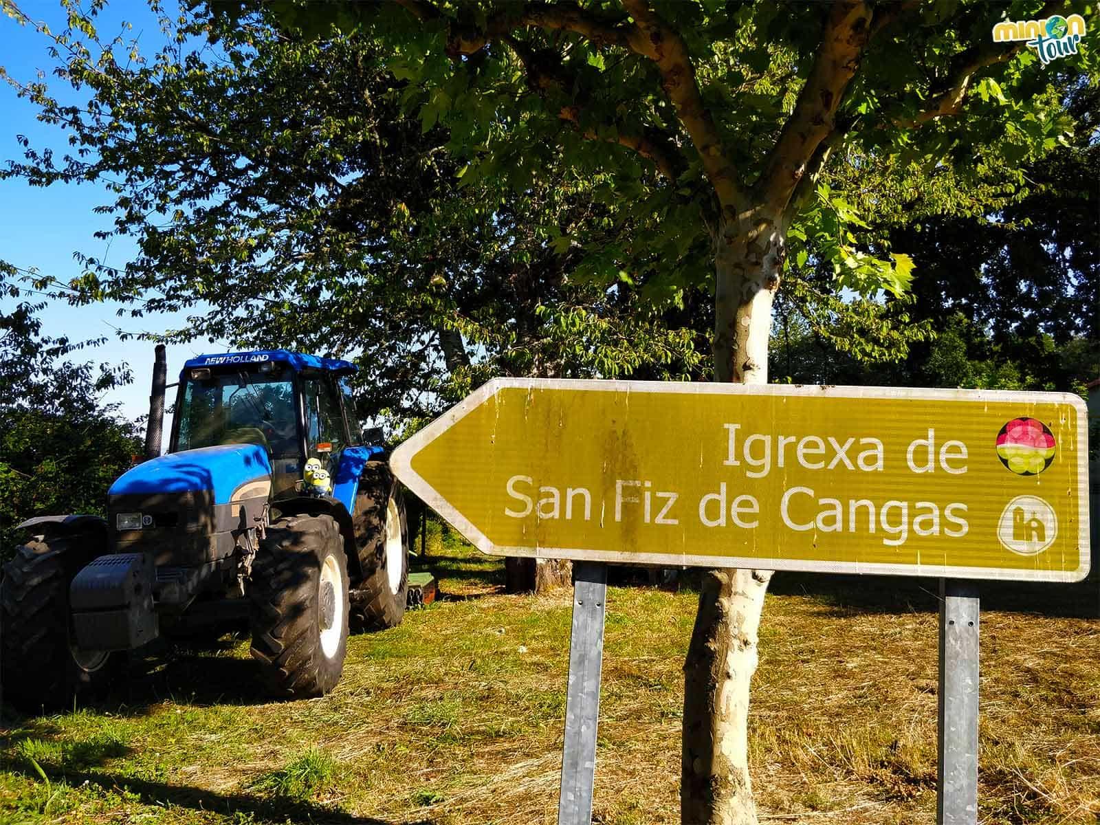 Cartel a la Iglesia de San Fiz de Cangas