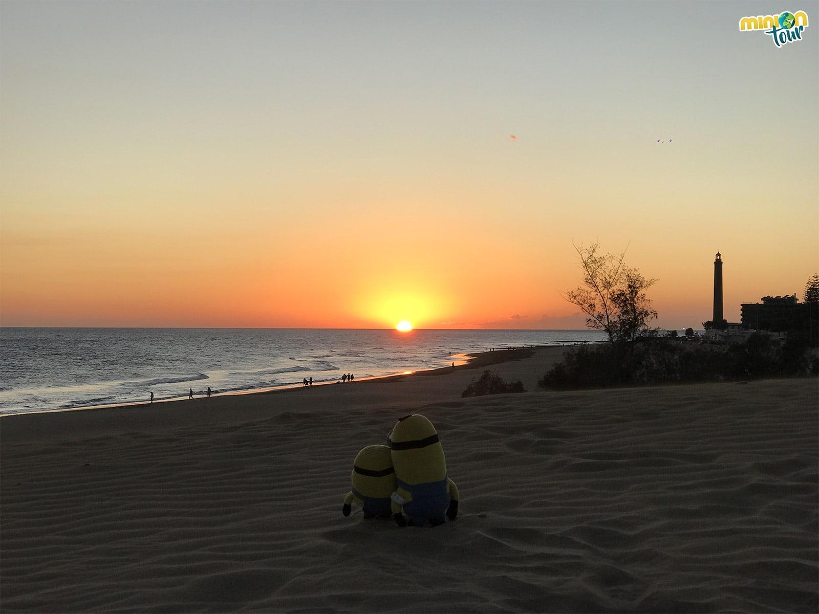 Puesta de sol desde las dunas de Maspalomas