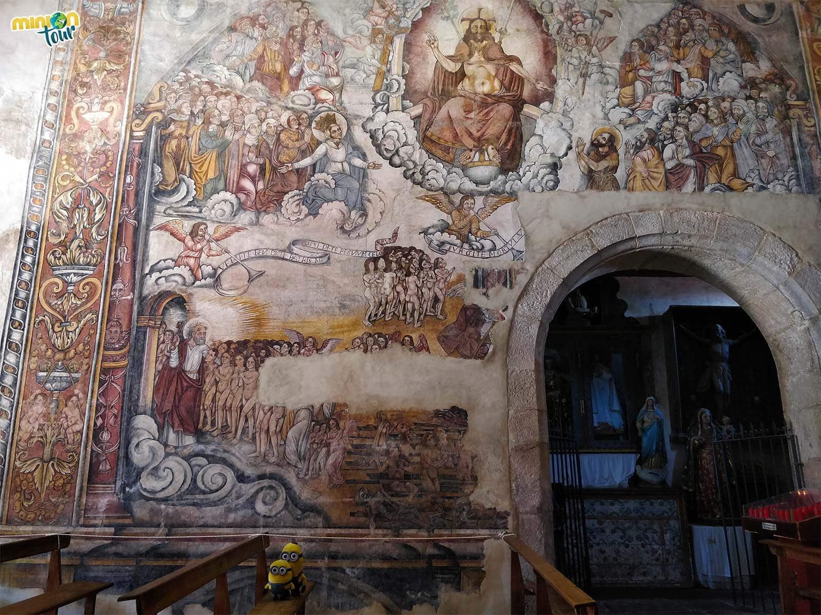 Escena del Juicio final de las pinturas de Santa María de Nogueira