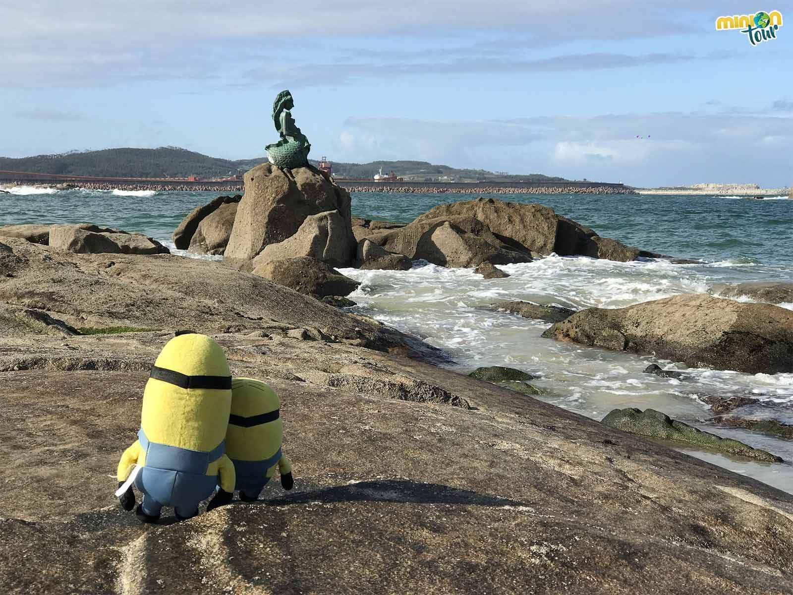 Saludando a la Maruxaina en la Playa del Torno en San Cibrao