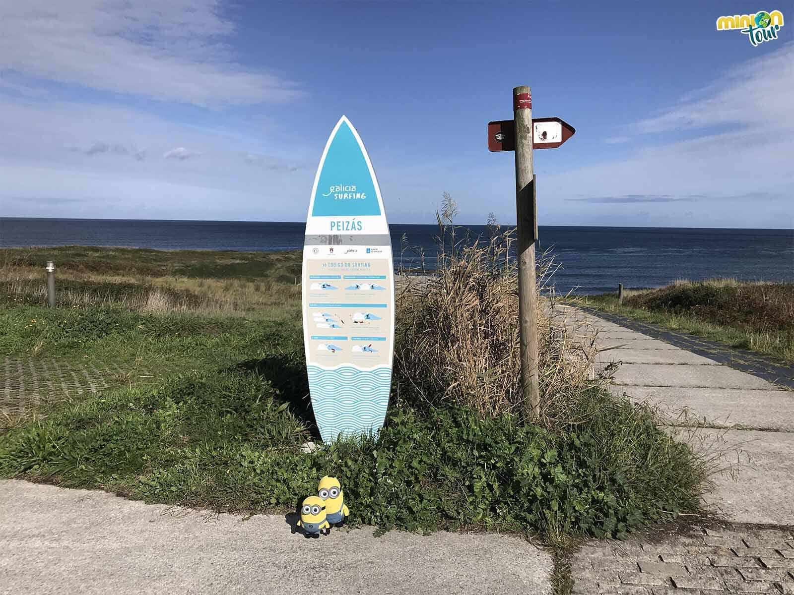 Minions aprendiendo el Código del Surfing en la Playa de Peizás