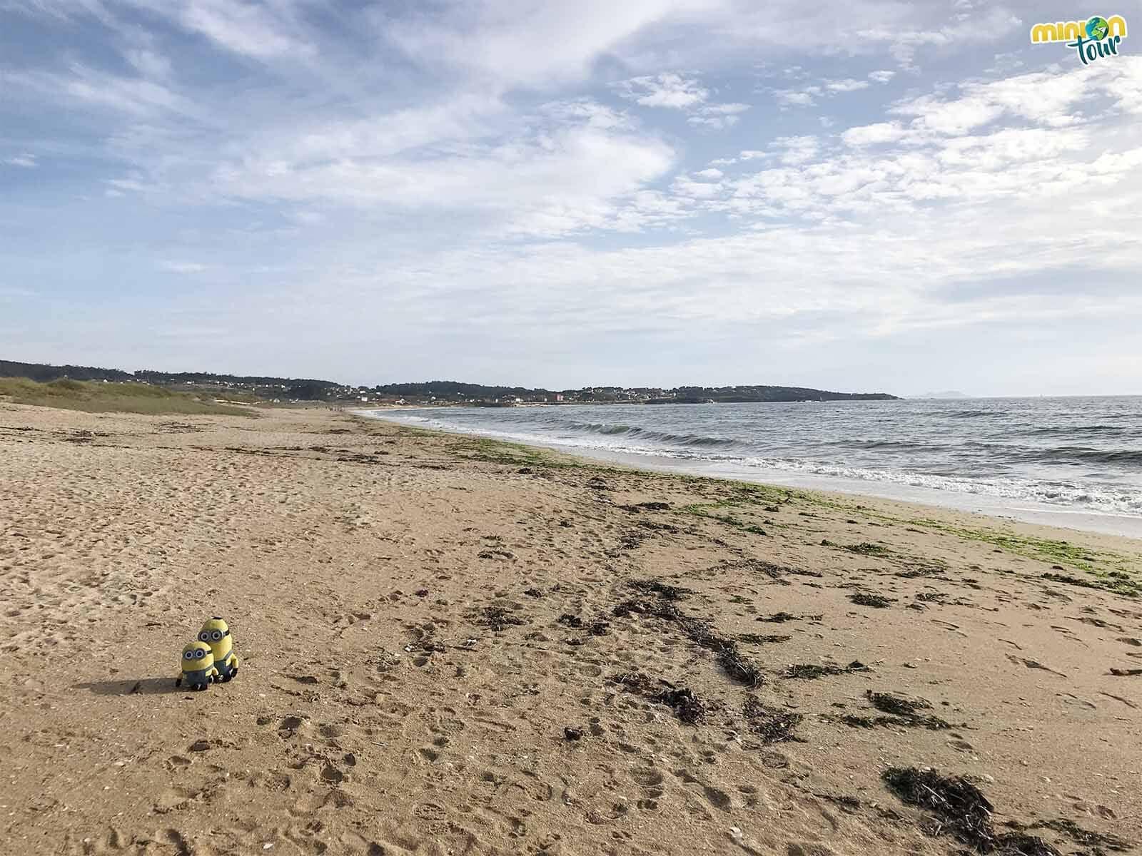 Los Minions haciéndose fotos en la Playa de La Lanzada